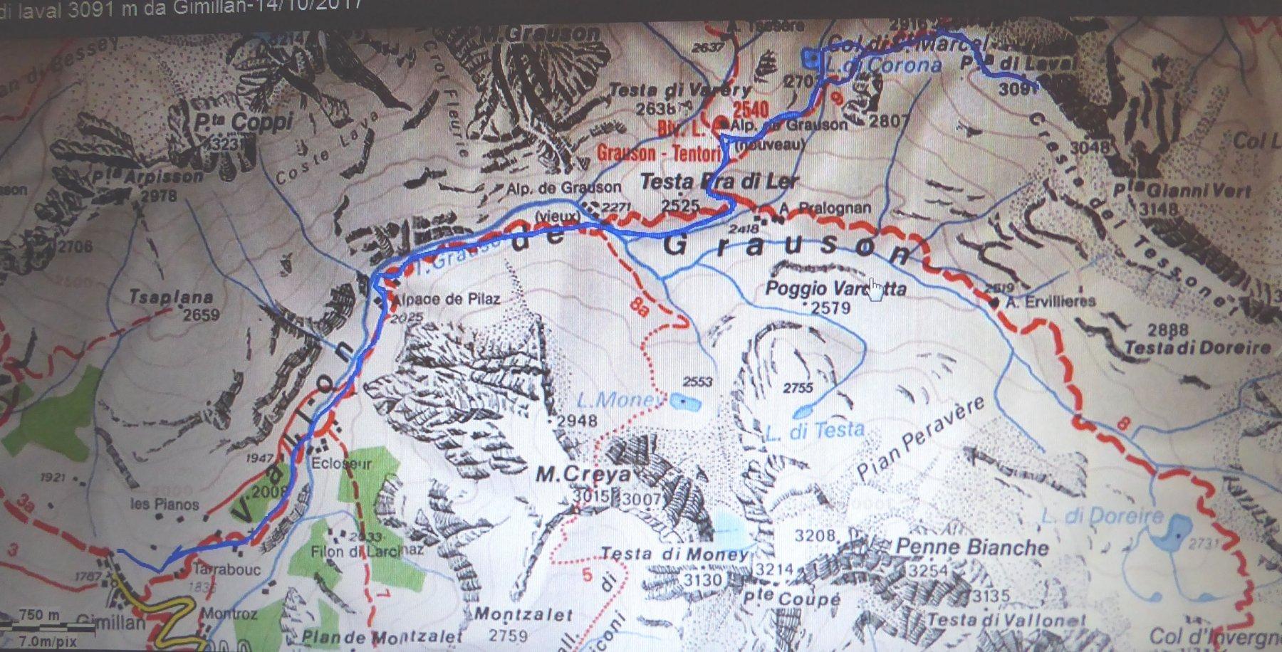 cartina e traccia gps