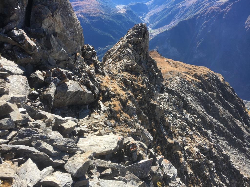 Il punto in cresta che ha obbligato alla deviazione alla ricerca di un passaggio, non trovato. Sullo sfondo il Mont Cormet non raggiunto