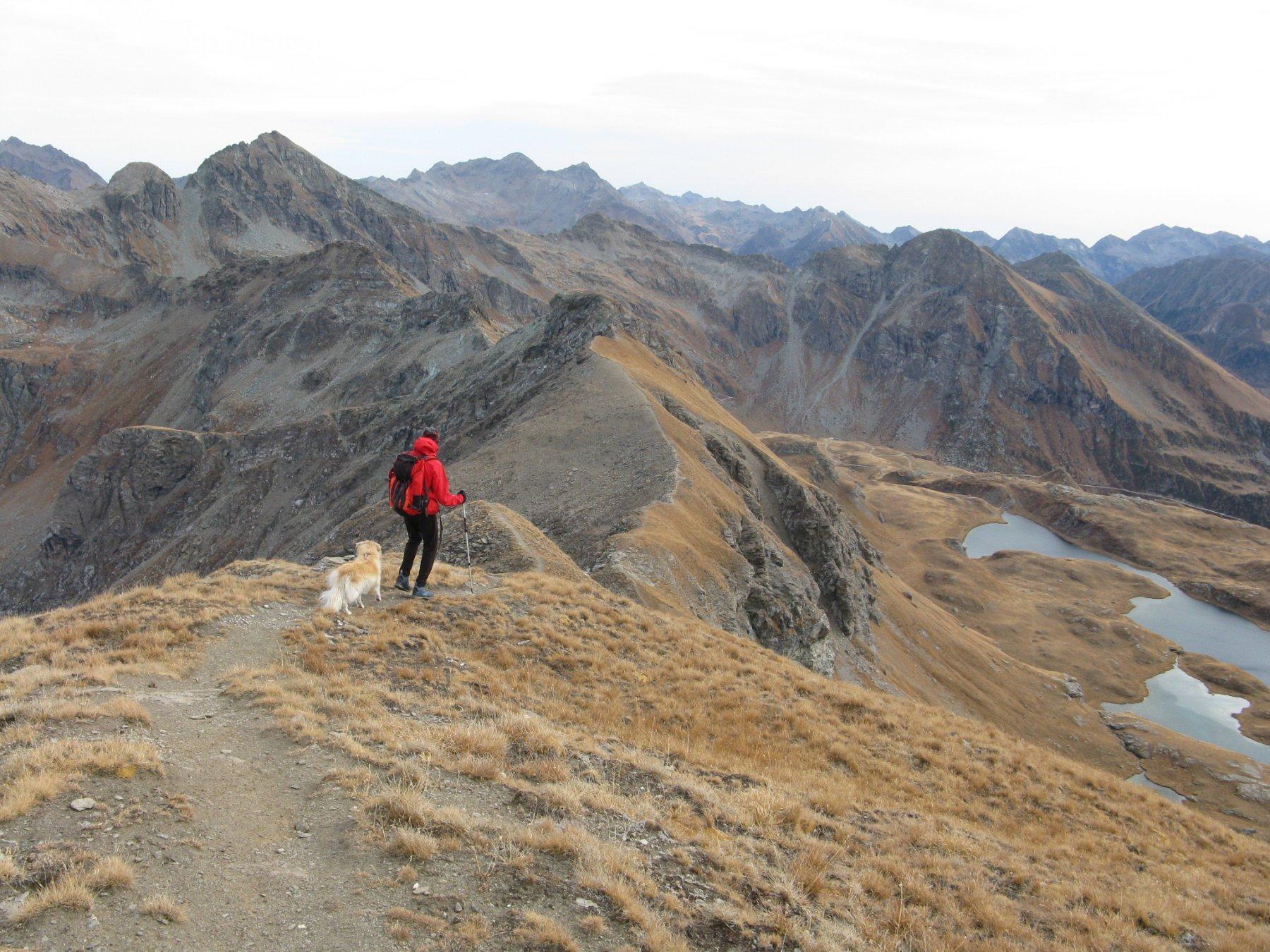 il percorso su cresta in discesa