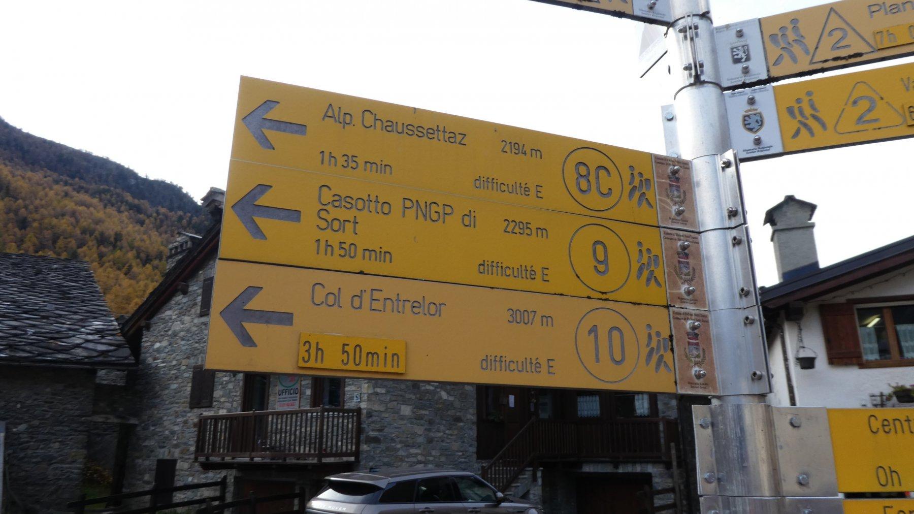 cartelli indicatori all'inizio del sentiero a Bruil