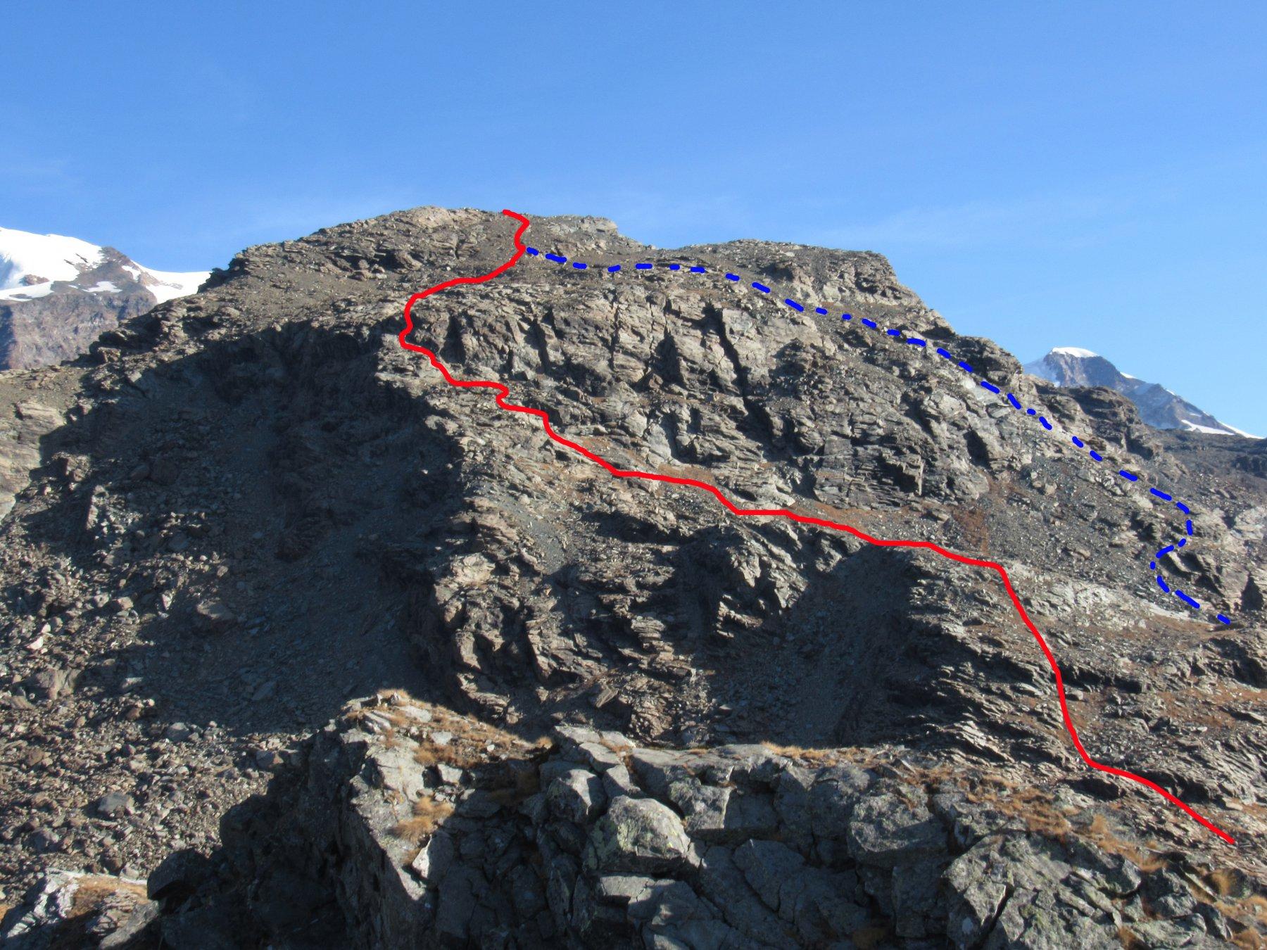 Percorsi di salita, in rosso la via consigliata, in blu la variante del pendio-canale sud-est
