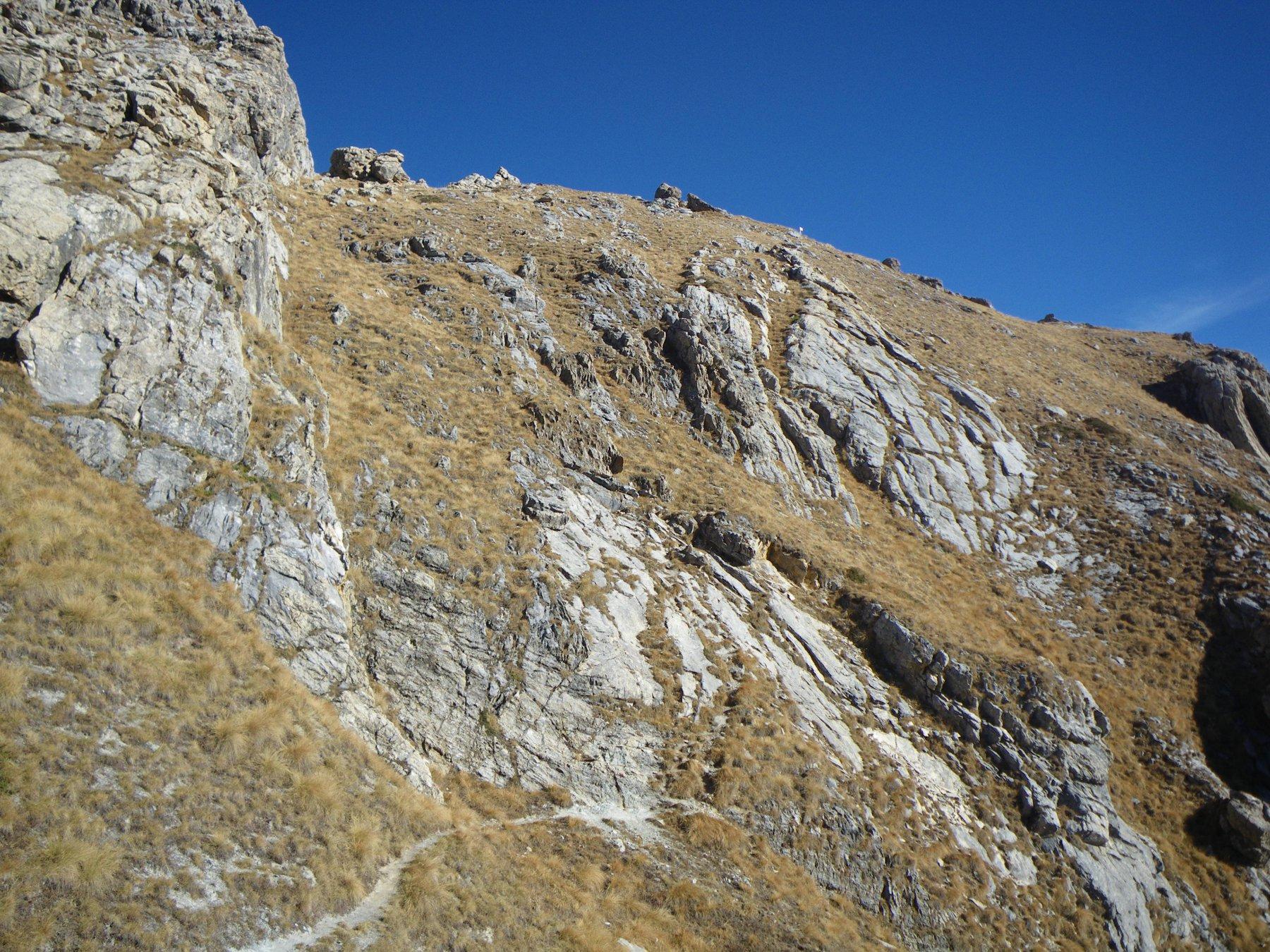 il ripido ma facile pendio per la Rocca Parvo