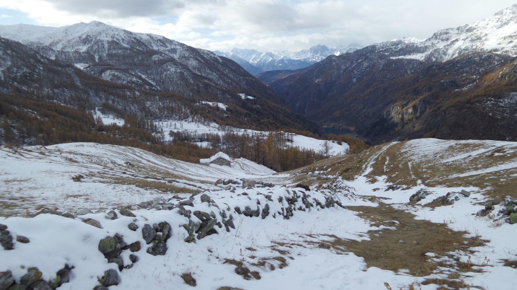 la prima parte del vallone risalito con pochissima neve presente
