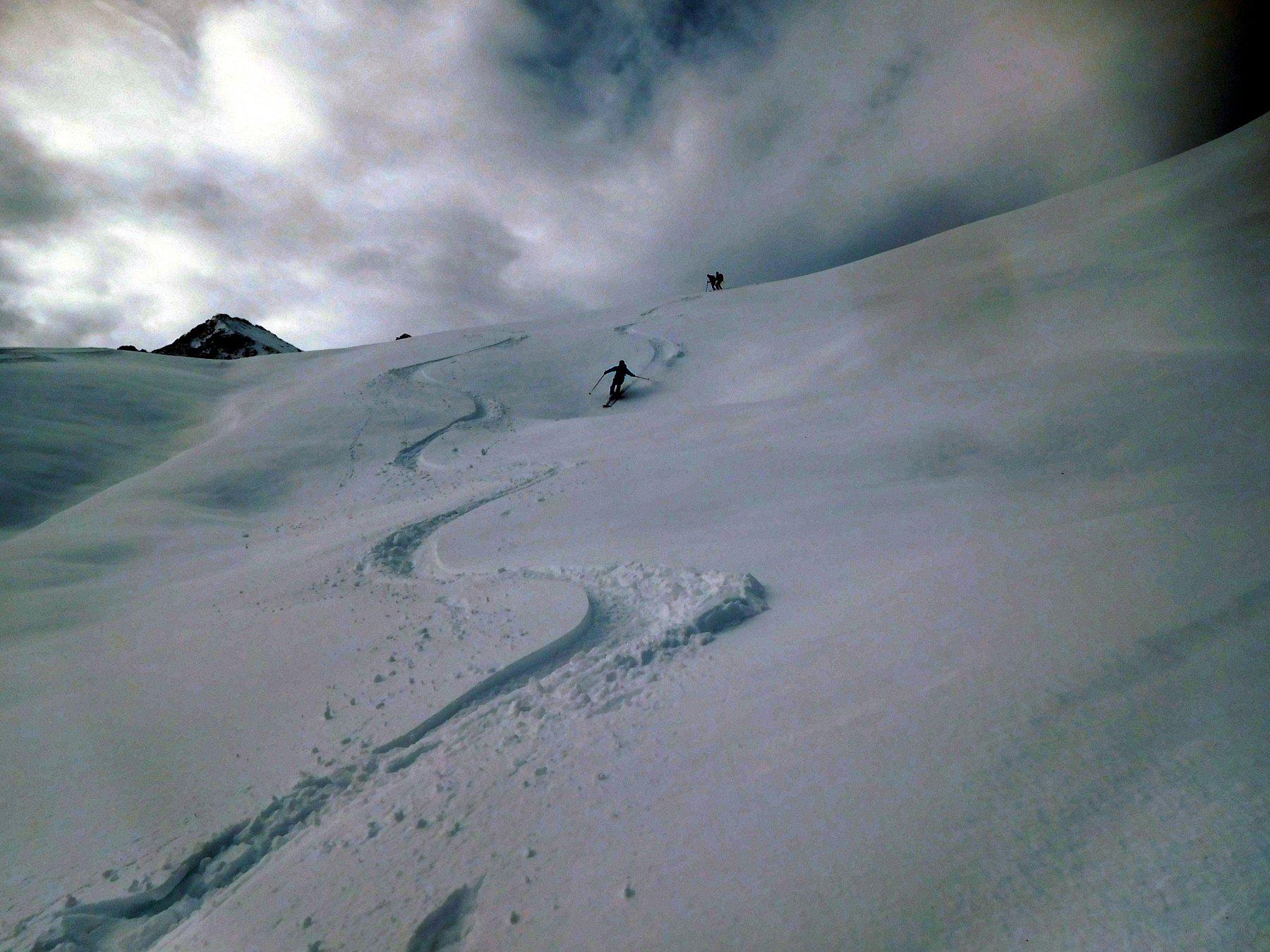 seconda discesa...neve più pesante