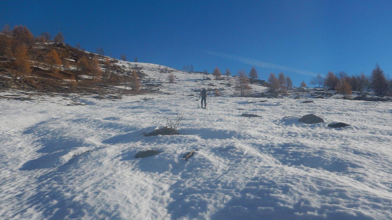 A circa 1600 m si calzano gli sci