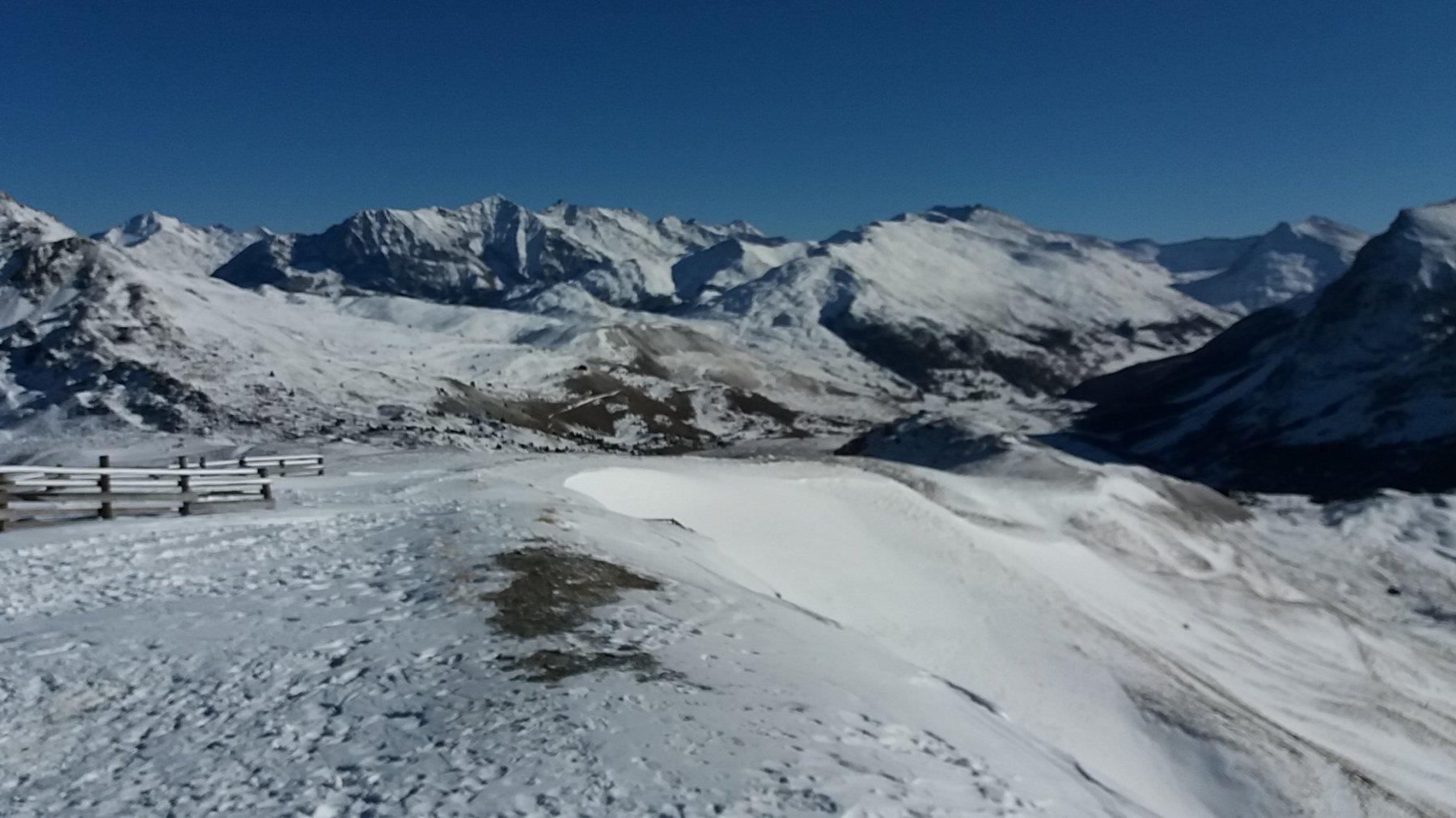 Il panorama un po' desolante per la scarsità di neve