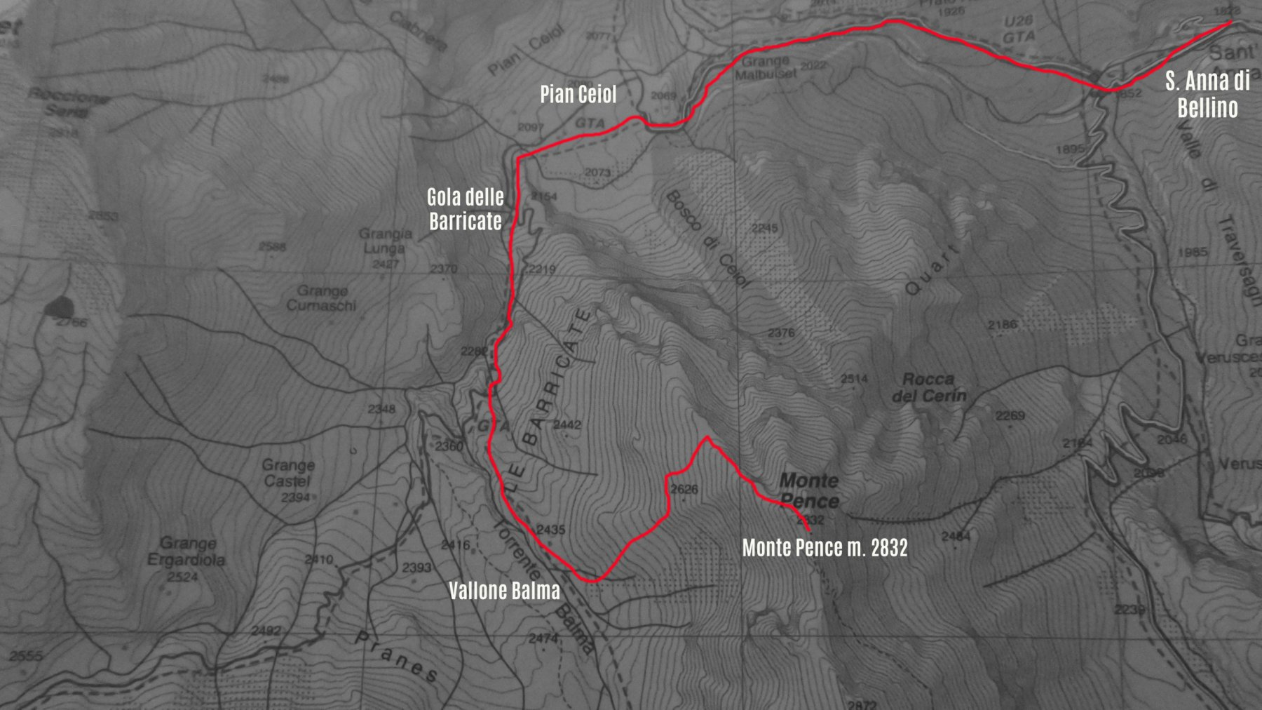 stralcio di carta topografica Fraternali con l'itinerario di salita
