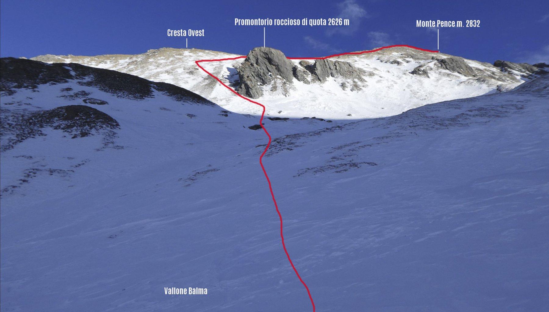 parte alta dell'itinerario di salita visto dalla parte iniziale del Vallone Balma