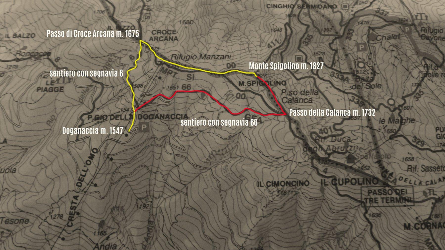 stralcio di carta topografica con il percorso fatto (giallo in salita e rosso in discesa)