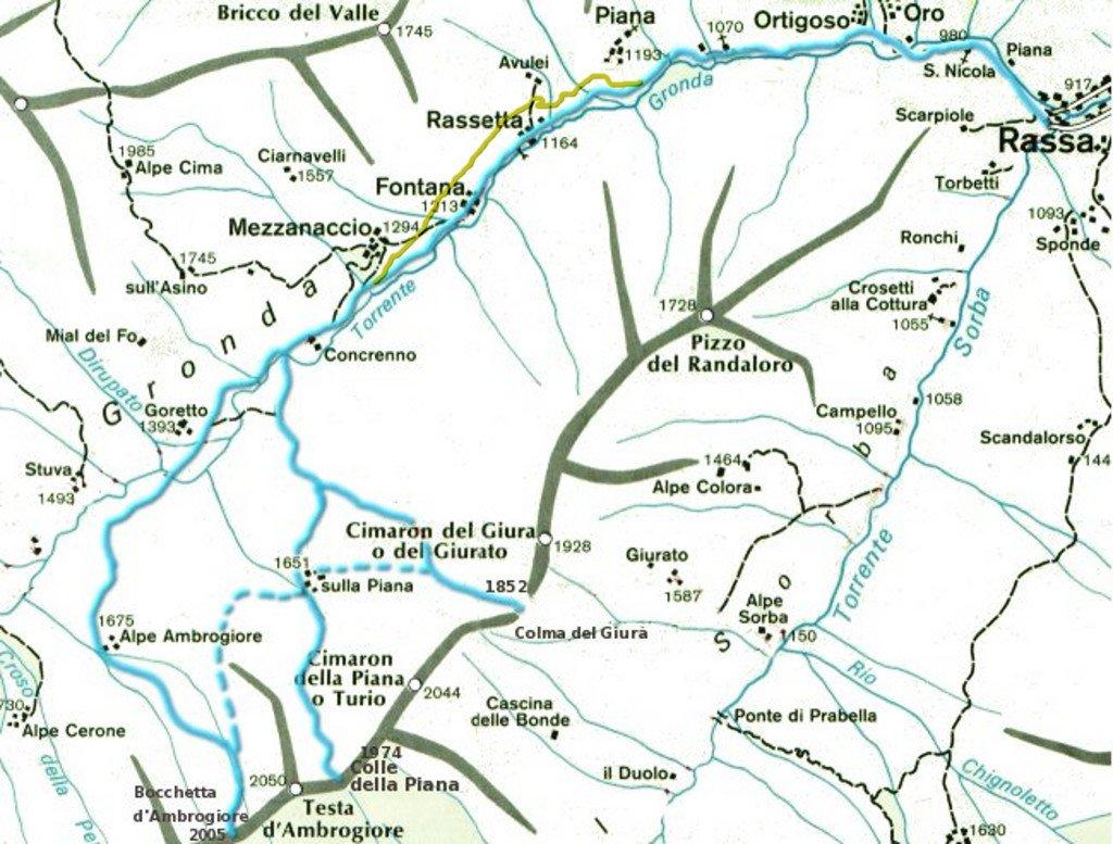 Itinerari in Val Gronda. In giallo la strada nuova fino a Concrenno