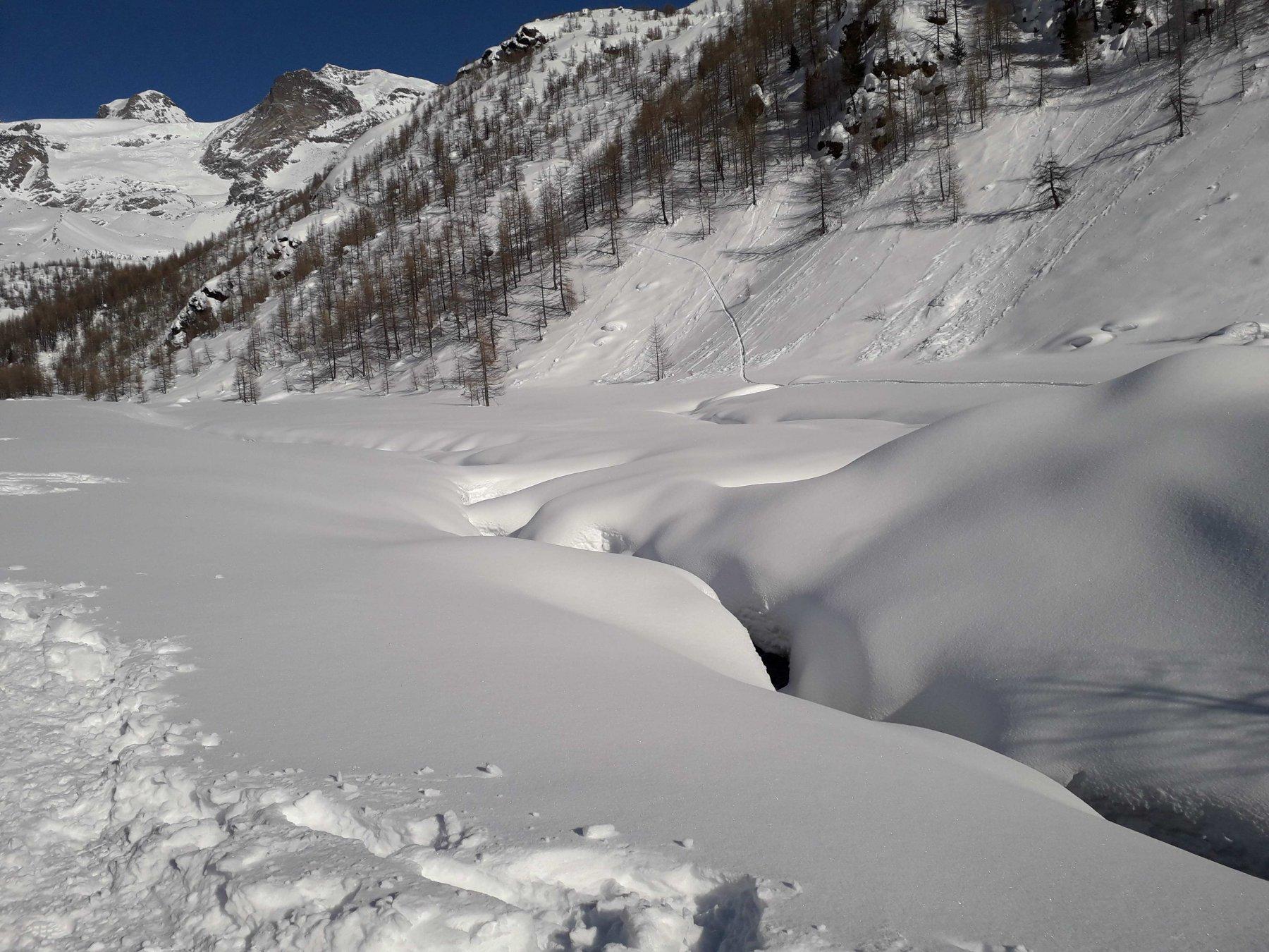 mota neve, panna ai bordi del torrente