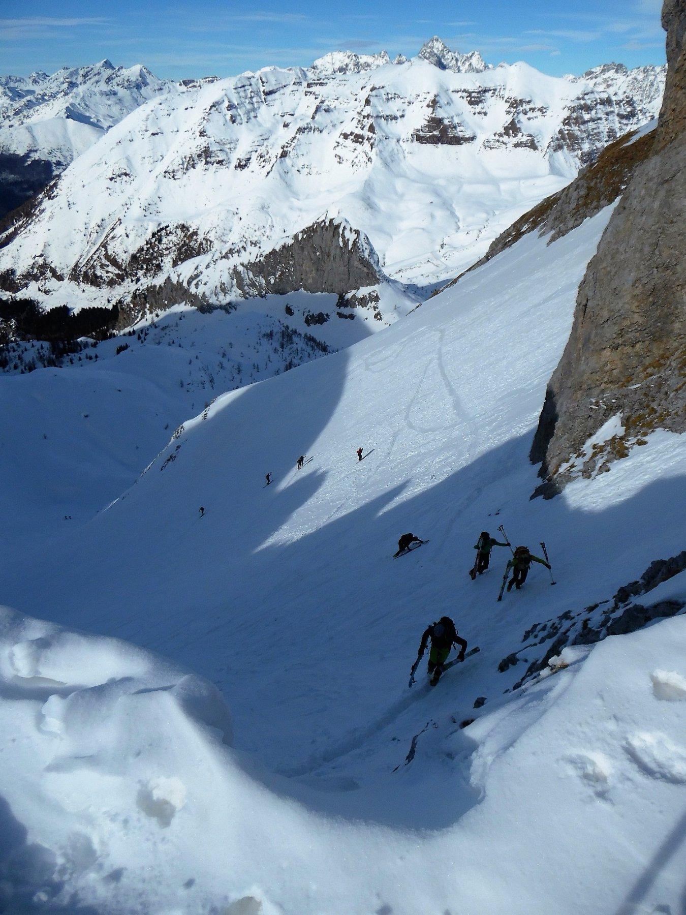 Scialpinisti da Lizzola al canalino finale