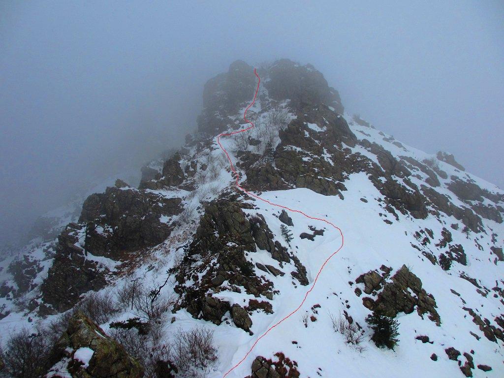 Dove passa il sentiero, siamo a circa 100 metri prima di punta Matrin