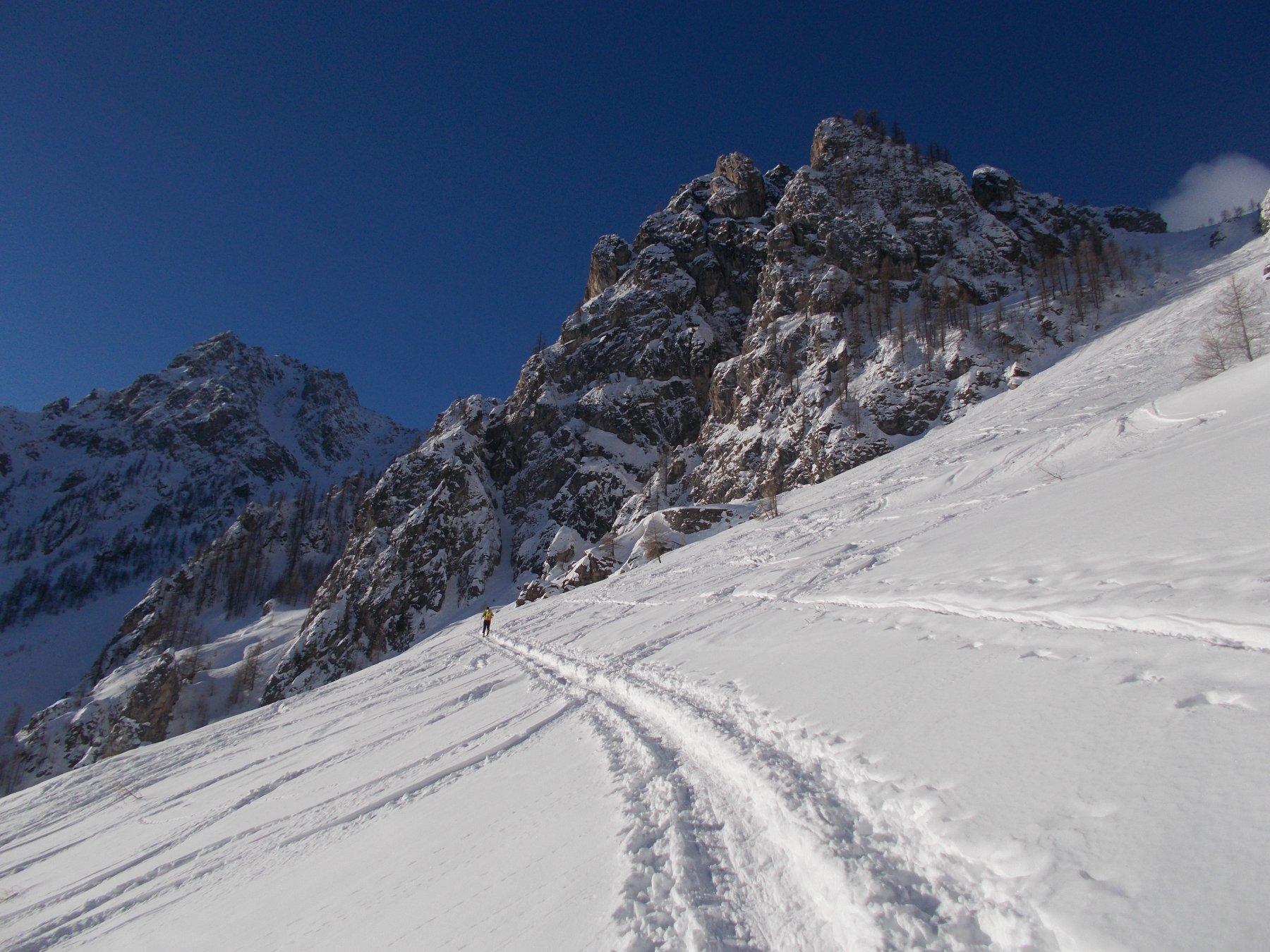 seguendo una bella traccia di sci e ciaspole assieme..