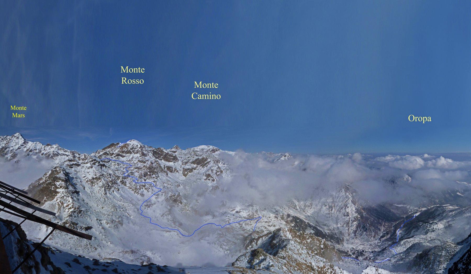 L'itinerario visto dal Mucrone