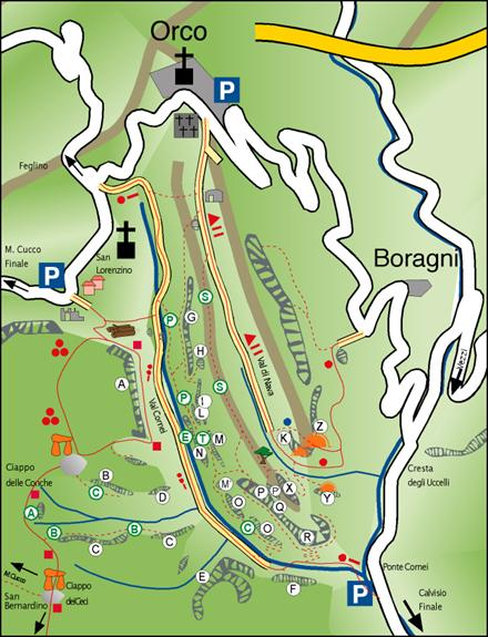 Cartina della Val Cornei (con la