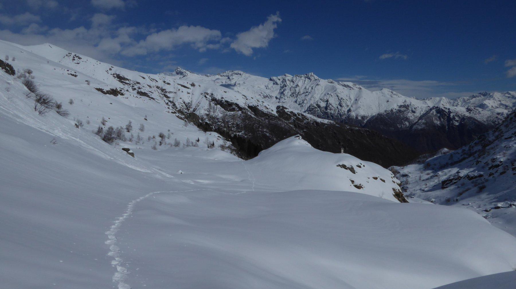In discesa verso l'Alpe Bianetto