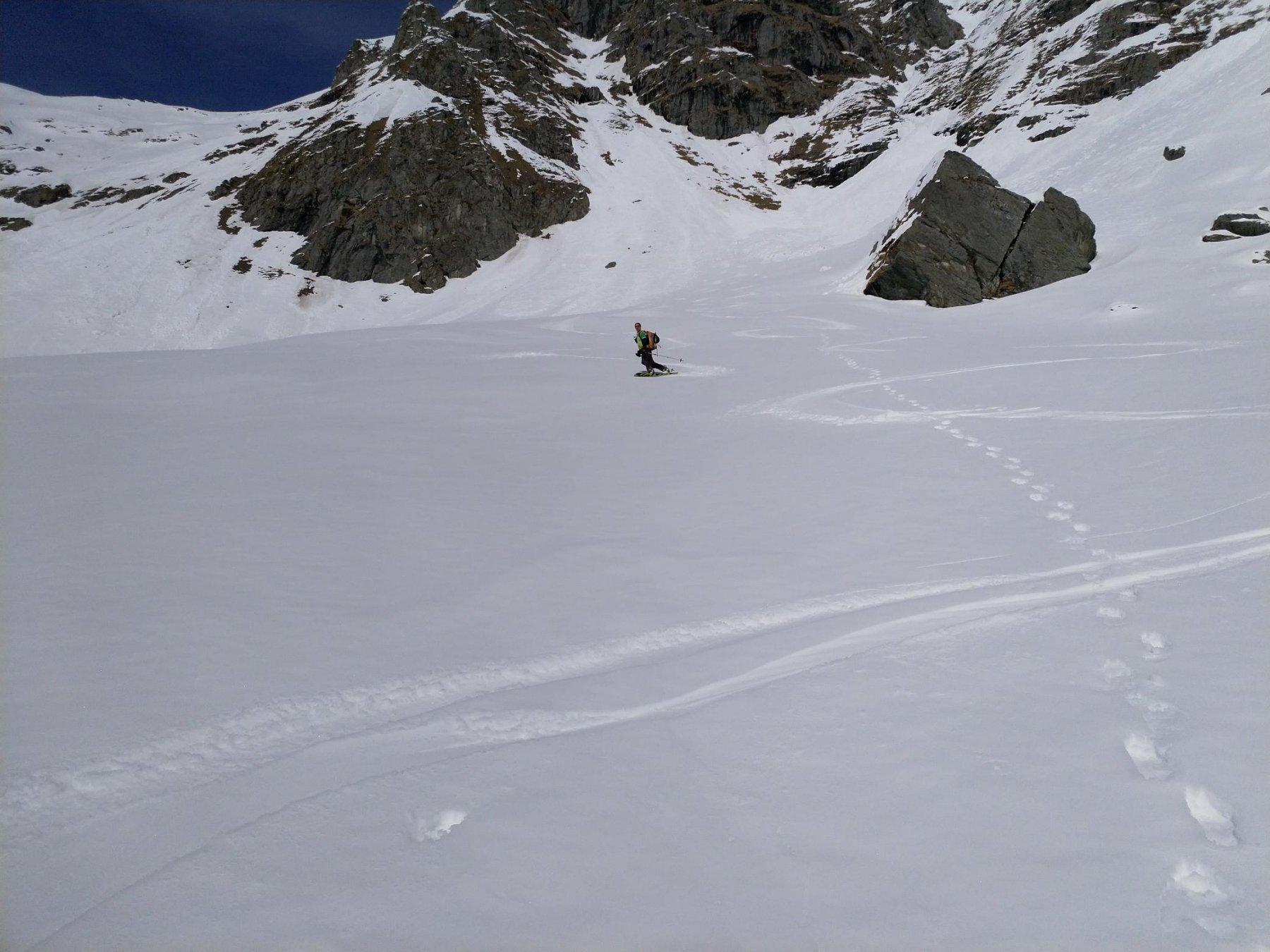 Gran relax e neve ancora ottima sotto la parte ripida