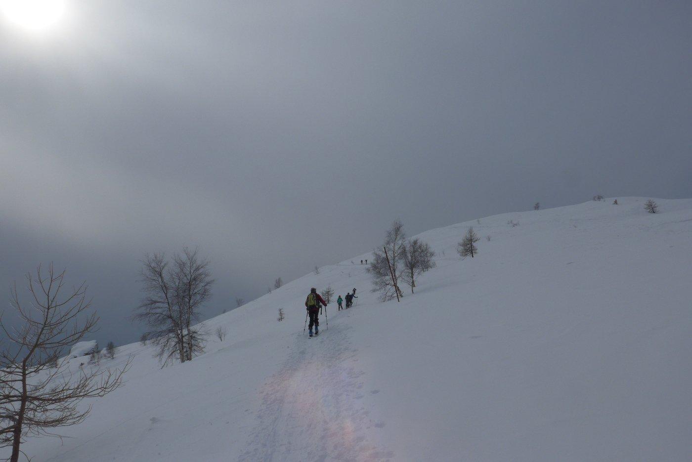 Cielo coperto alla partenza, ma la neve promette bene.
