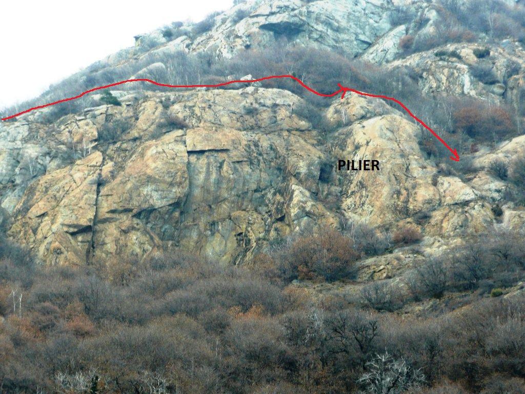 Comoda alternativa di discesa passando sopra il Pilier del Forte.