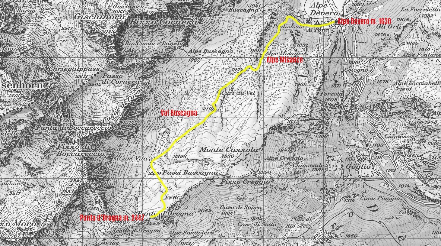 stralcio di carta topografica CNS e il nostro itinerario di salita