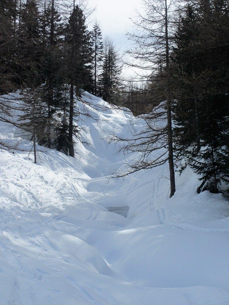Vallone Ciaval dove scorre sotto la neve il torrente