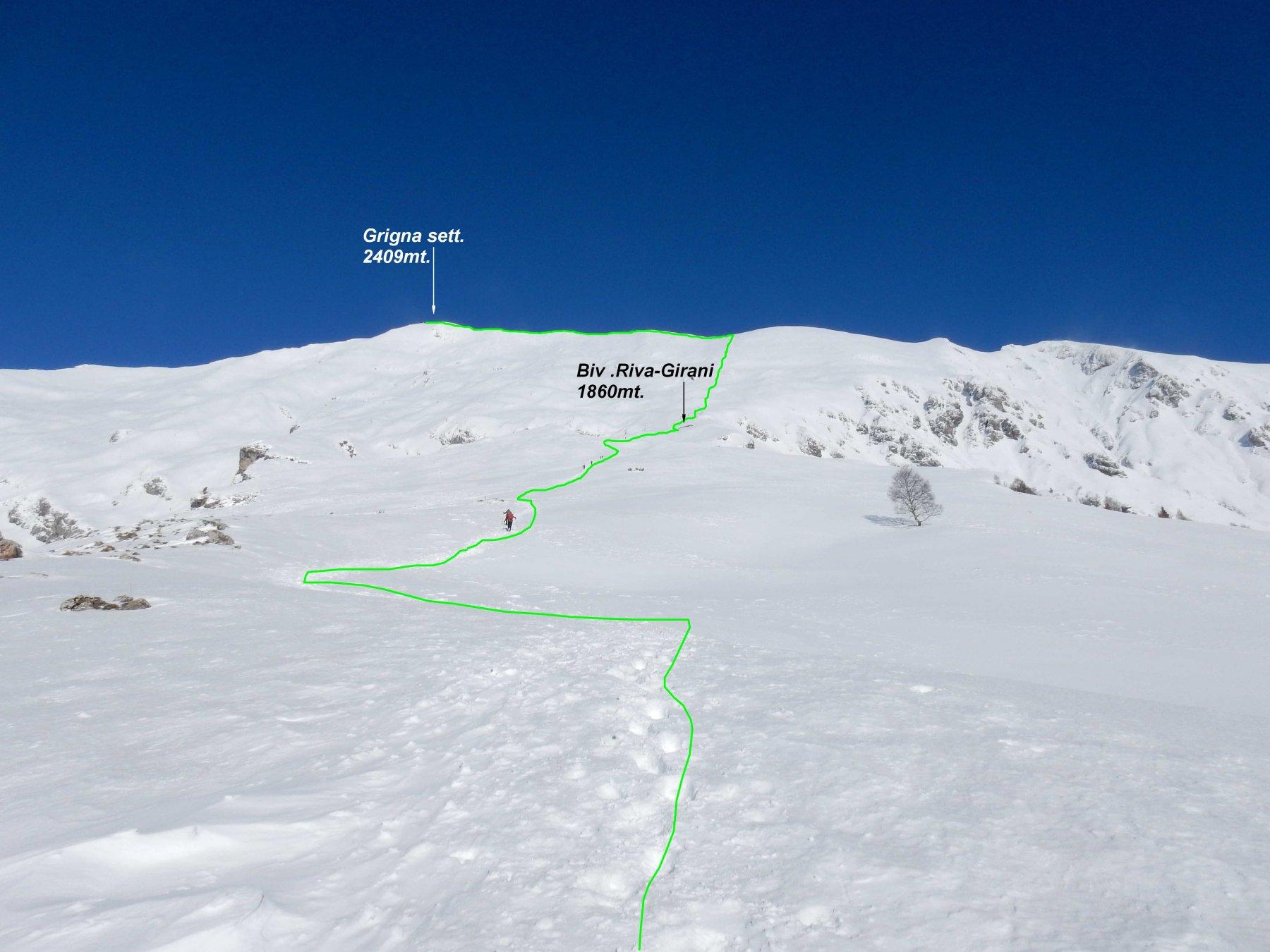 In verde il tracciato di salita.