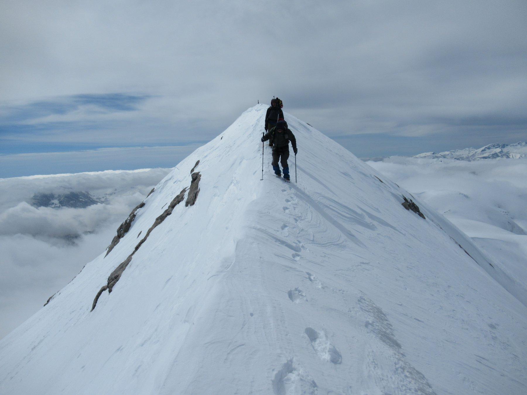 Mongioie e cresta con discesa verso il Bocchino d'Aseo.