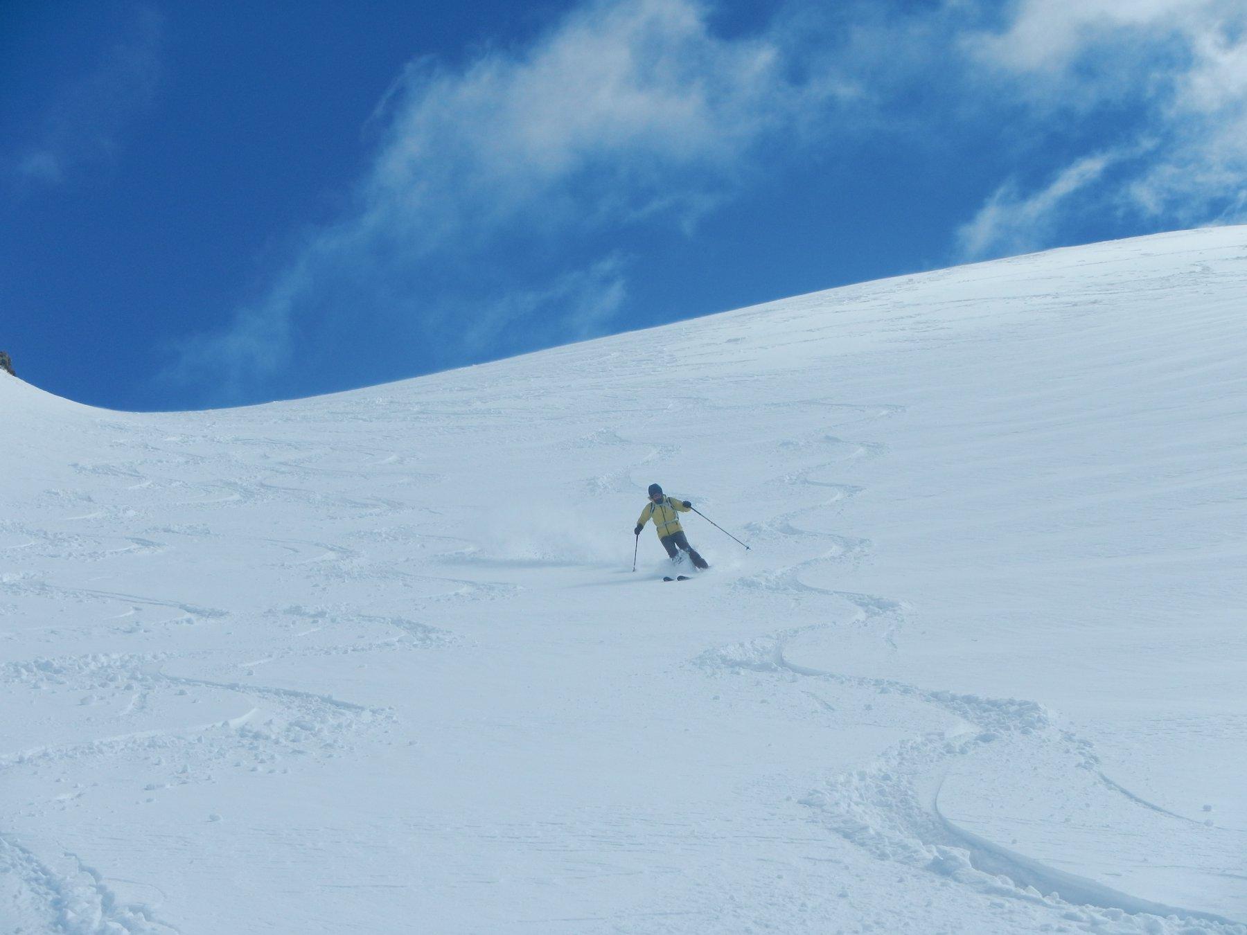discesa su bella neve fresca e asciutta