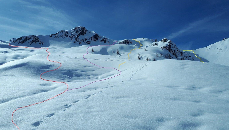 salita al Monte Pedena con diverse linee possibili di discesa