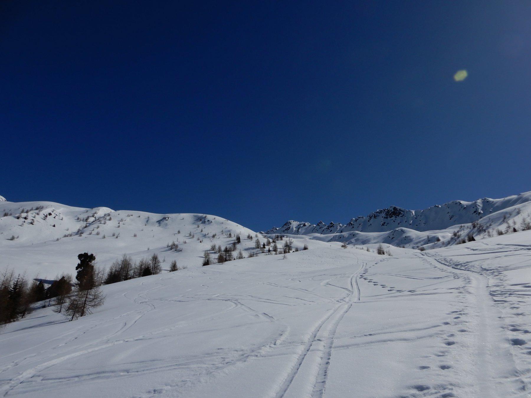 Pendii fantastici su neve vellutata e primaverile