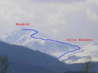 Itinerario salita Mondolè, via, oltre lo sperone