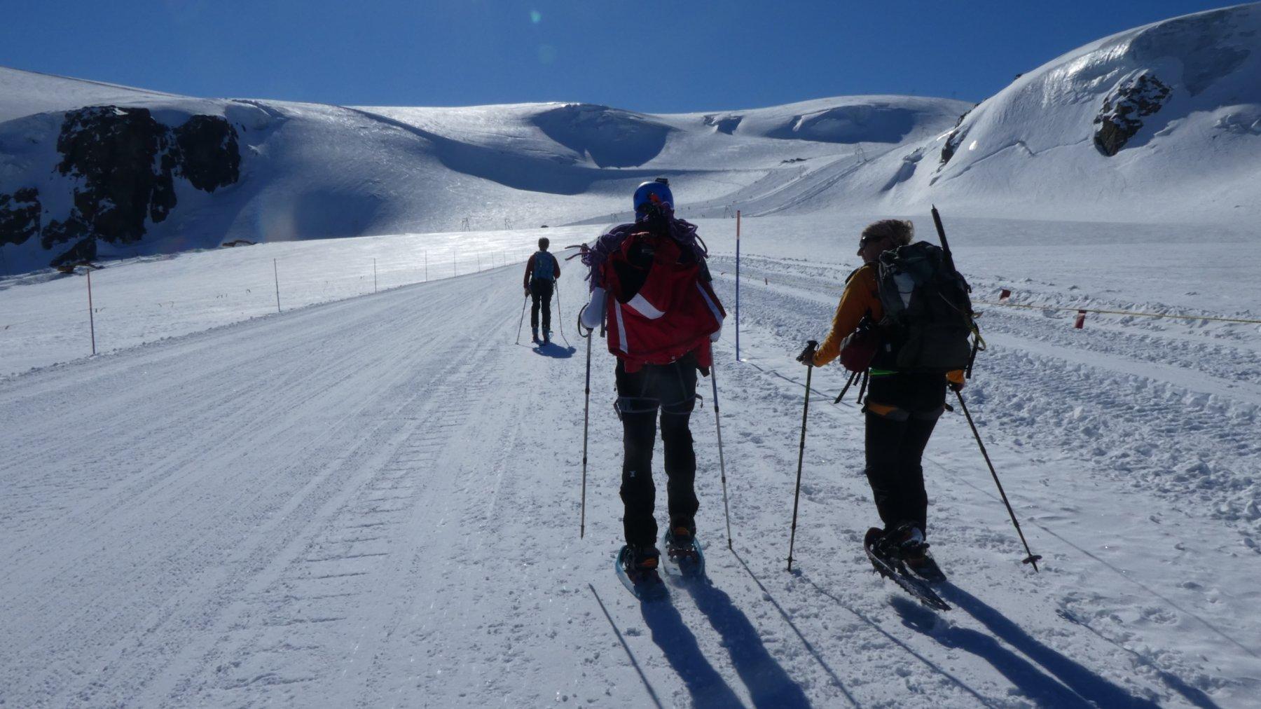 appena partiti, primi metri sul ghiacciaio dopo il Rifugio Guide del Cervino