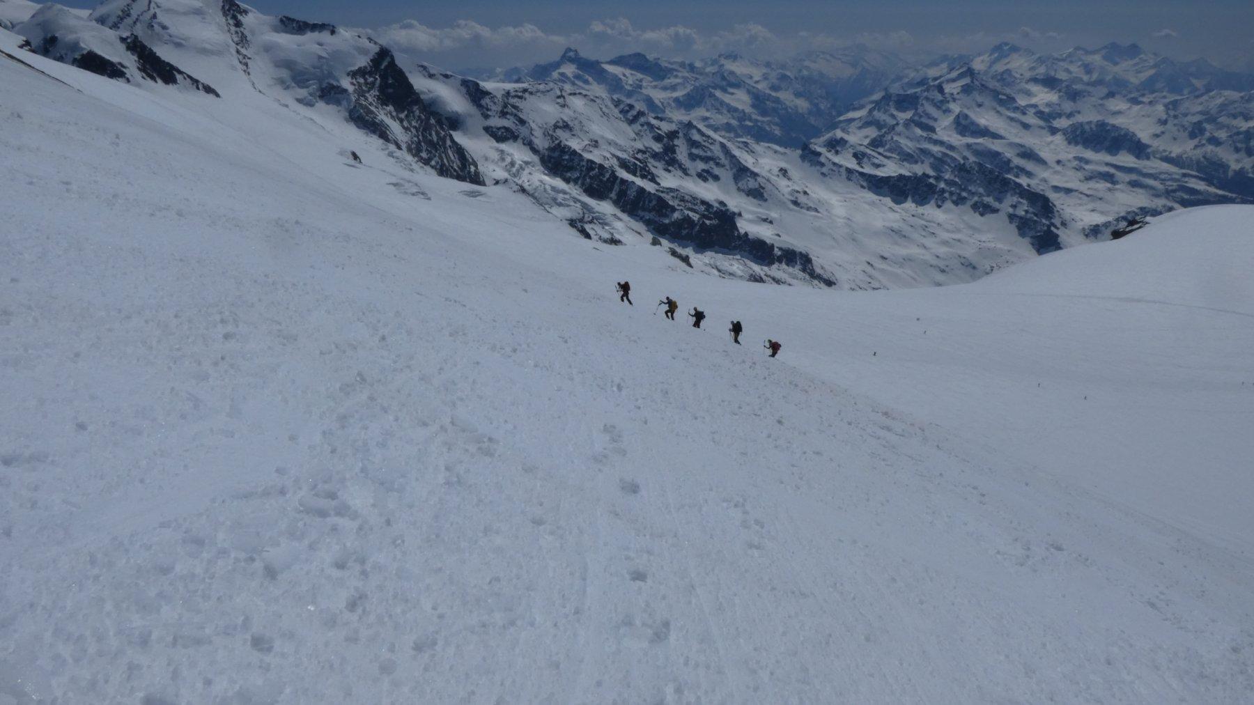 i pendii glaciali del Breithorn Occidentali, oggi in ottime condizioni