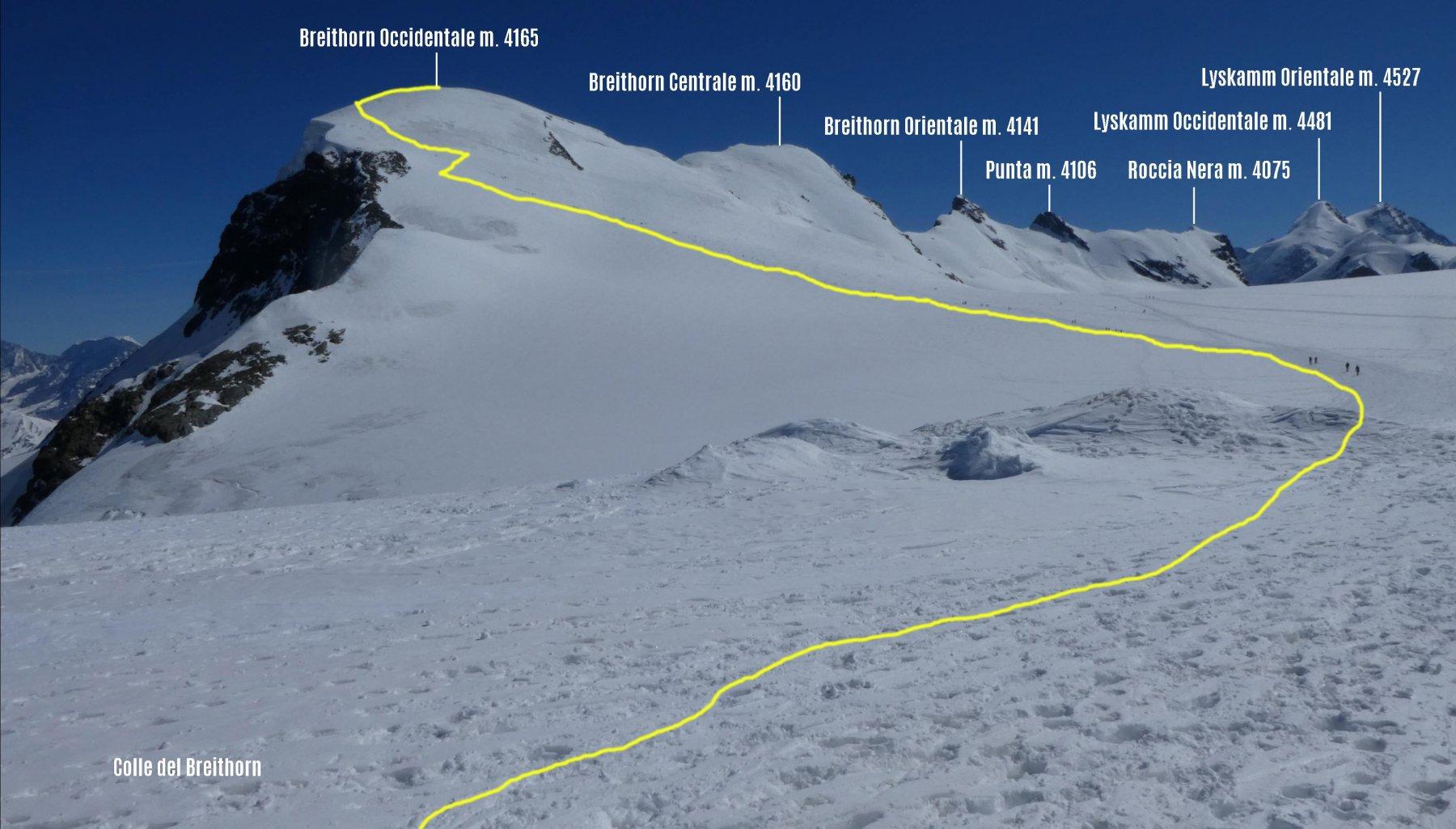 parte alta dell'itinerario di salita e panorama dal Colle del Breithorn