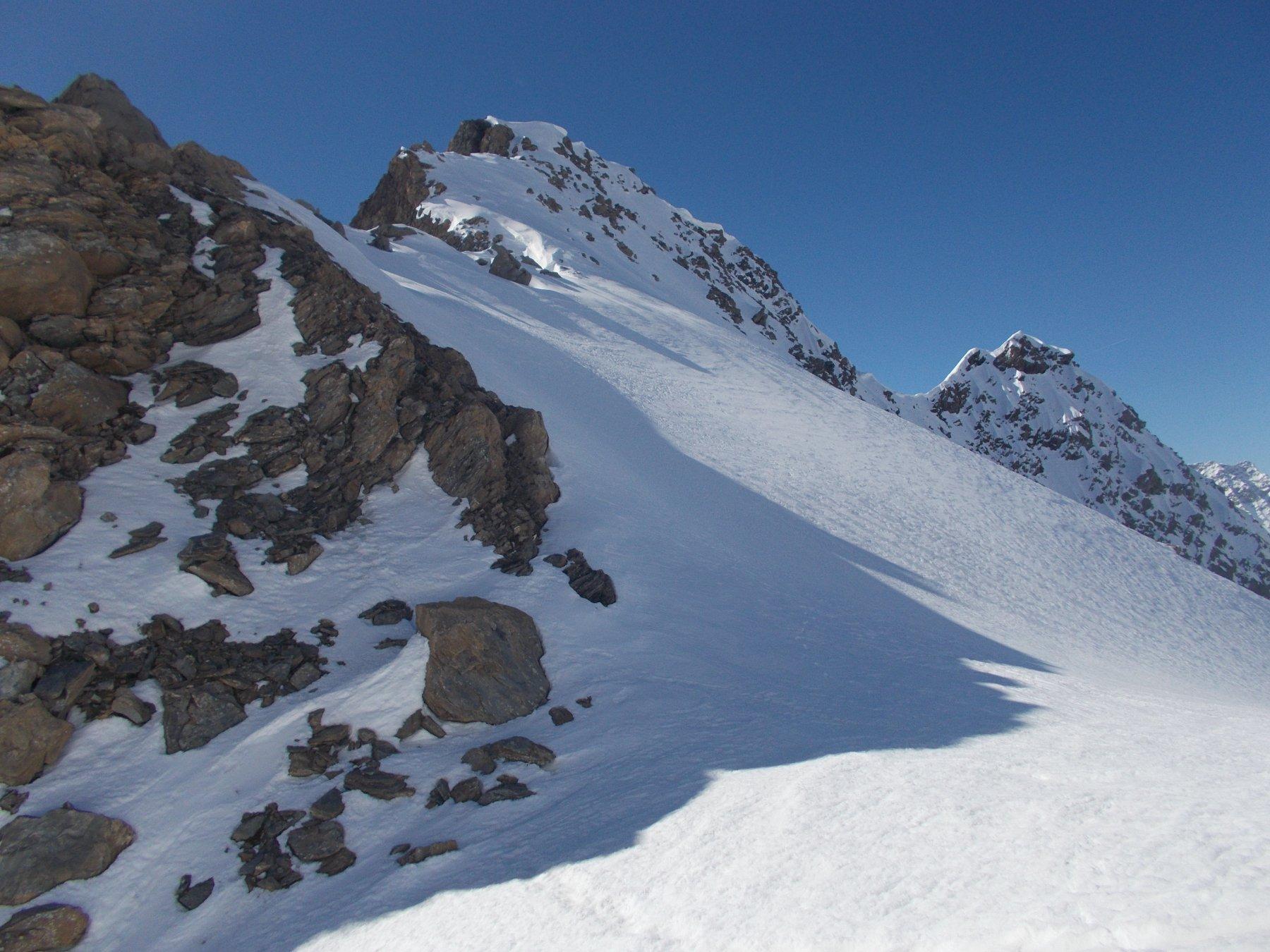 la cresta appena discesa..qui vista dal Colle di Belle Combe..