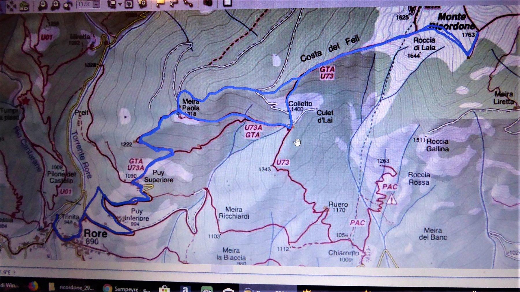 traccia gps sulla cartina fraternali