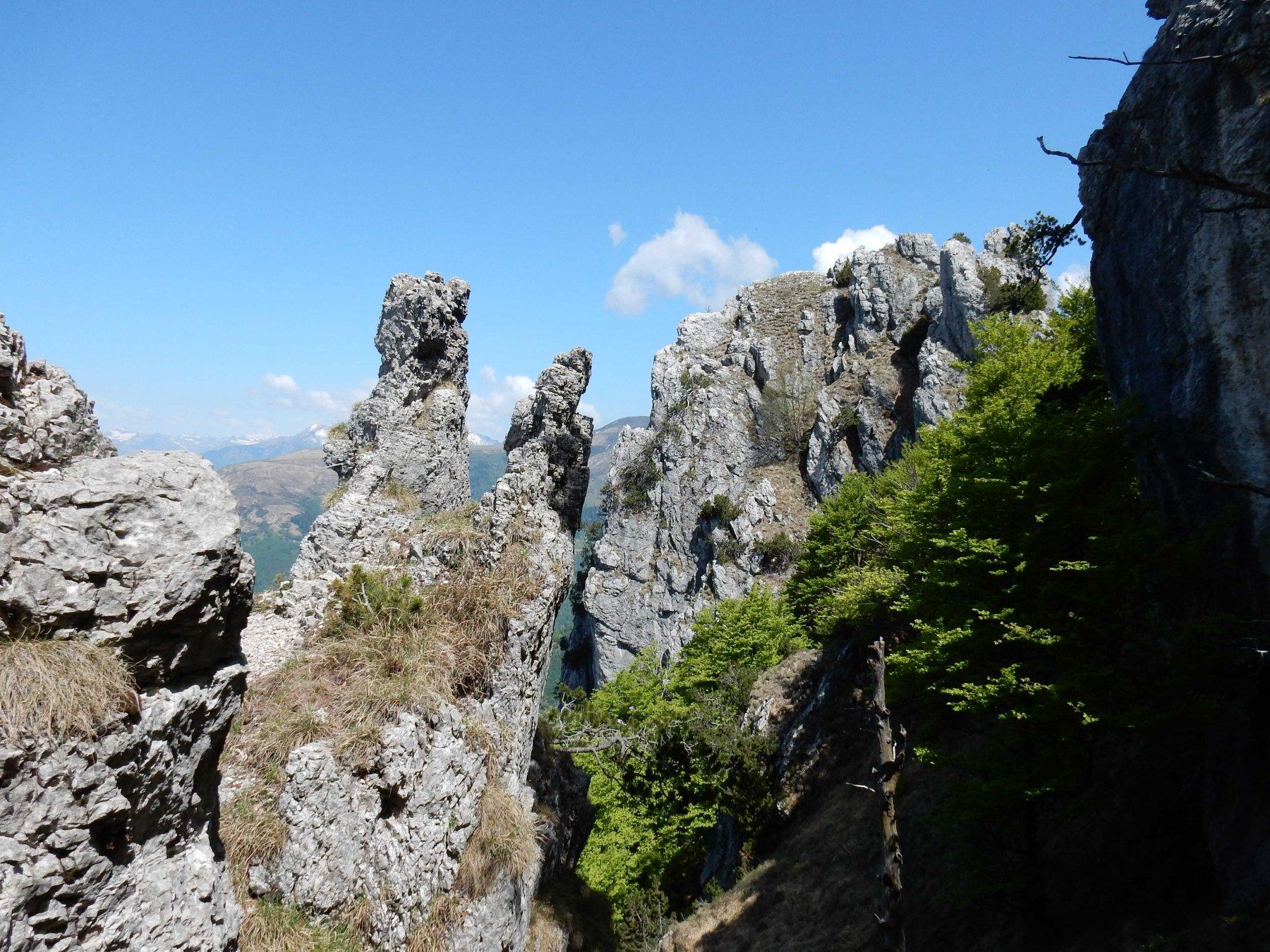 Passiamo tra le curiose rocciose calcareee dei Denti della Vecchia.