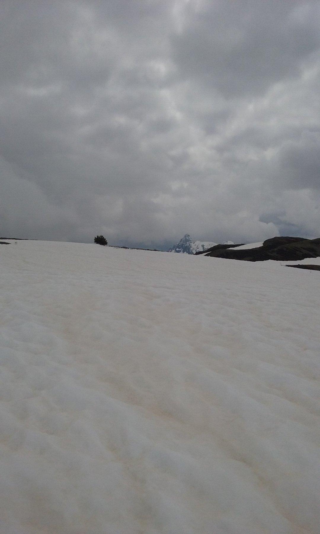 Sastrugi e Pic de Rochebrune all'orizzonte
