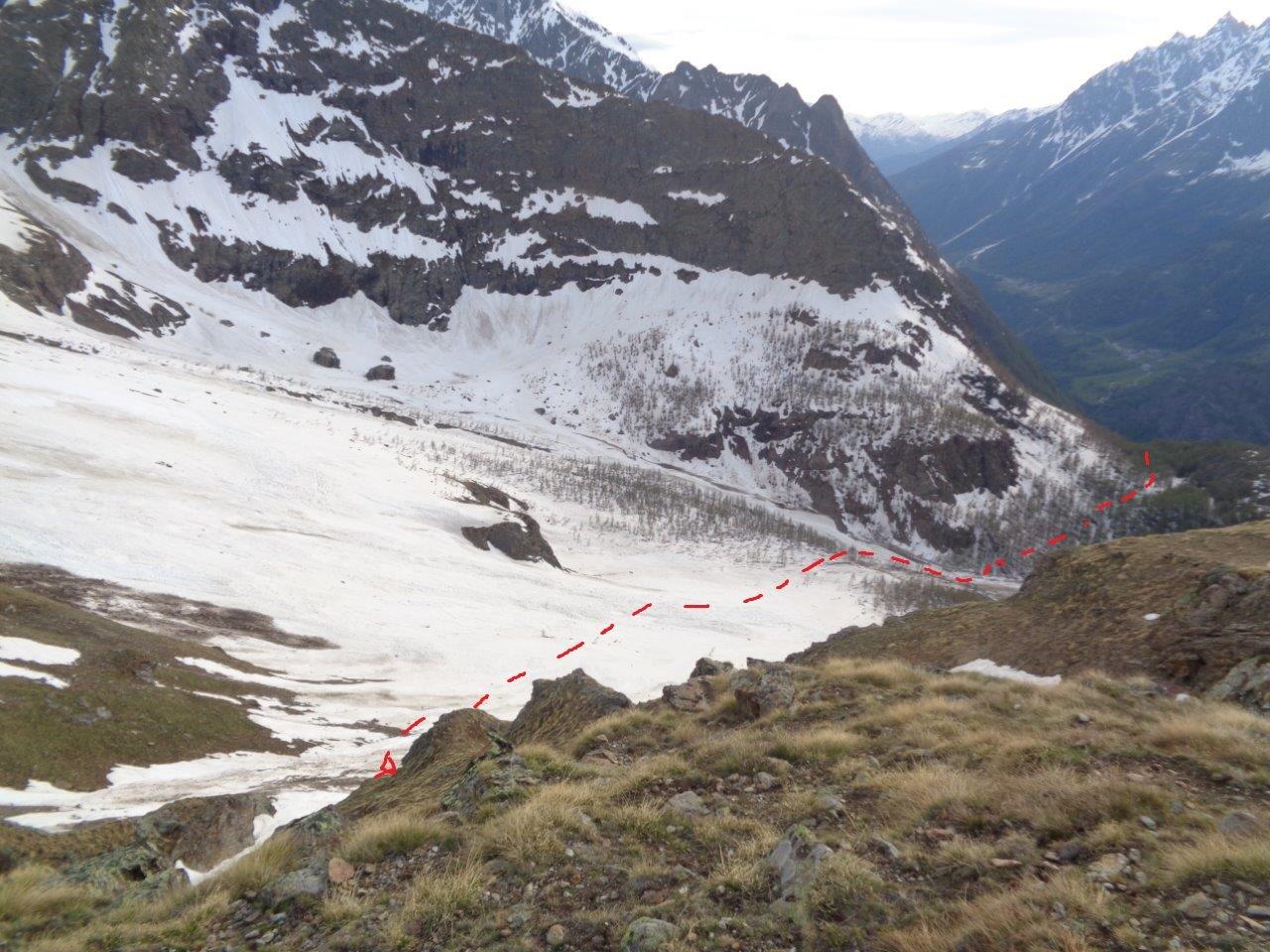 vista del percorso di salita da 2150 m in su (scattata poco prima di arrivare al bivacco)