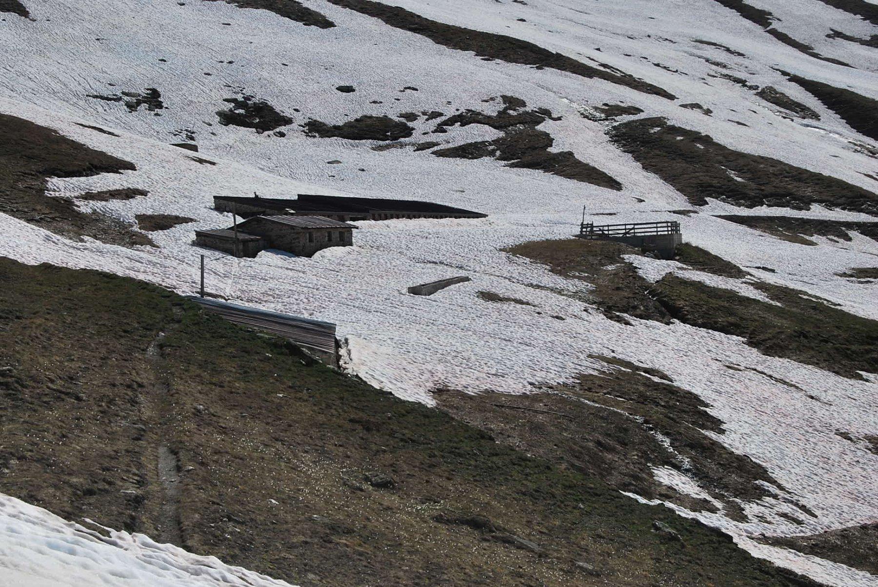 L'arrivo al Tramail des Ors, dove la neve è ormai continua.