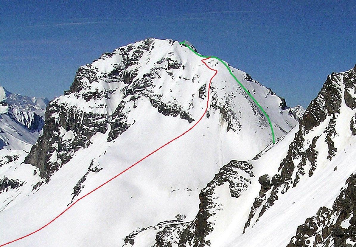 Tracciato: in verde la linea di salita dal colle, in rosso la discesa