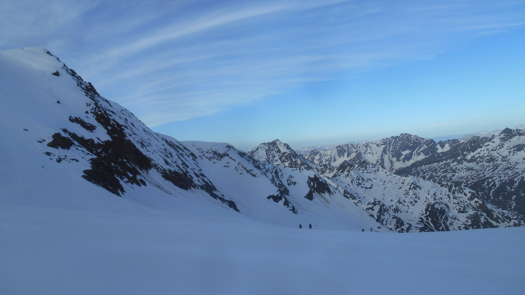 la parte mediana del ghiacciaio, sopra i seracchi