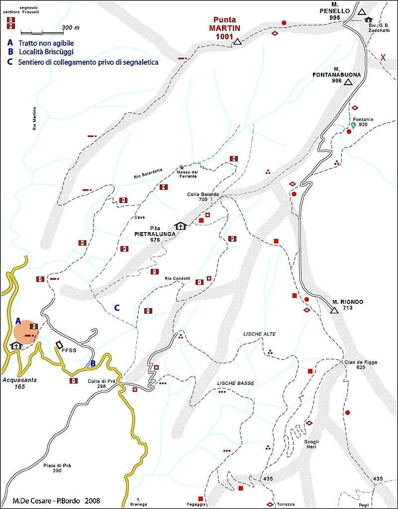Cartina con i vari percorsi