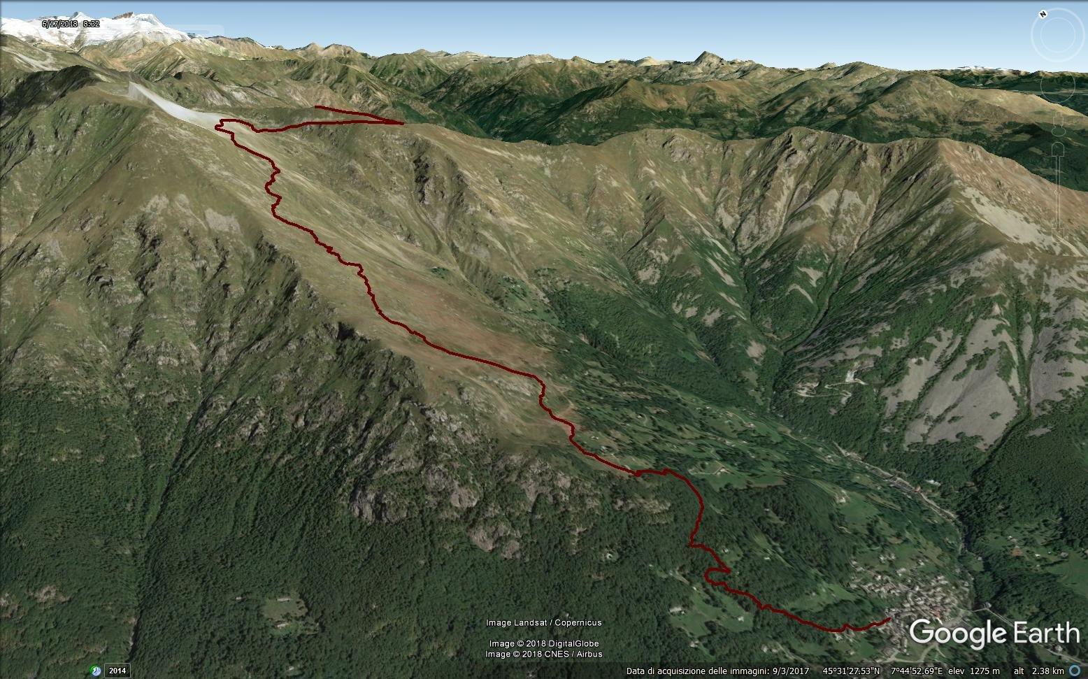 traccia gps del percorso in google earth