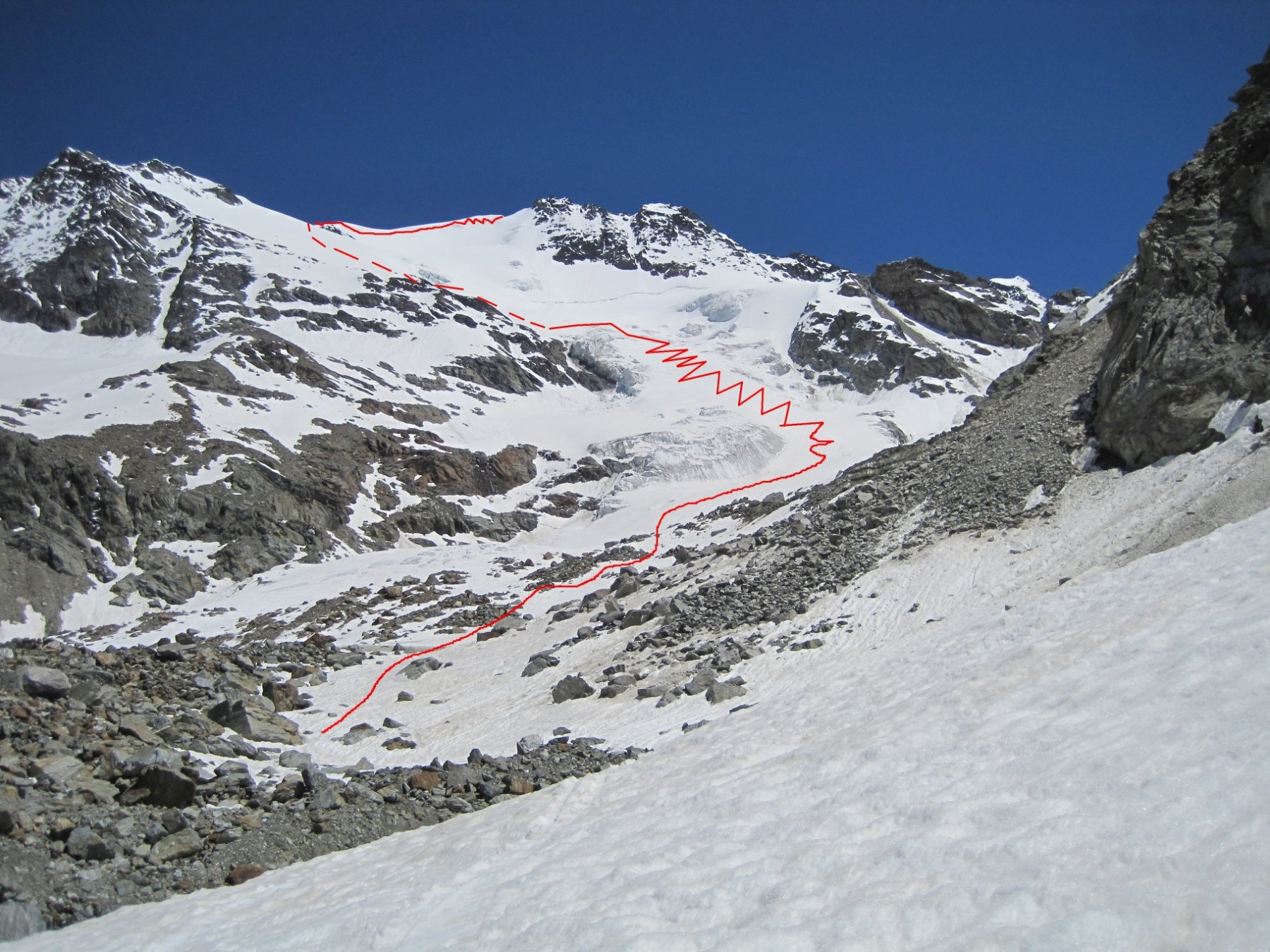 Il fletschhorn versante O con l'itinerario