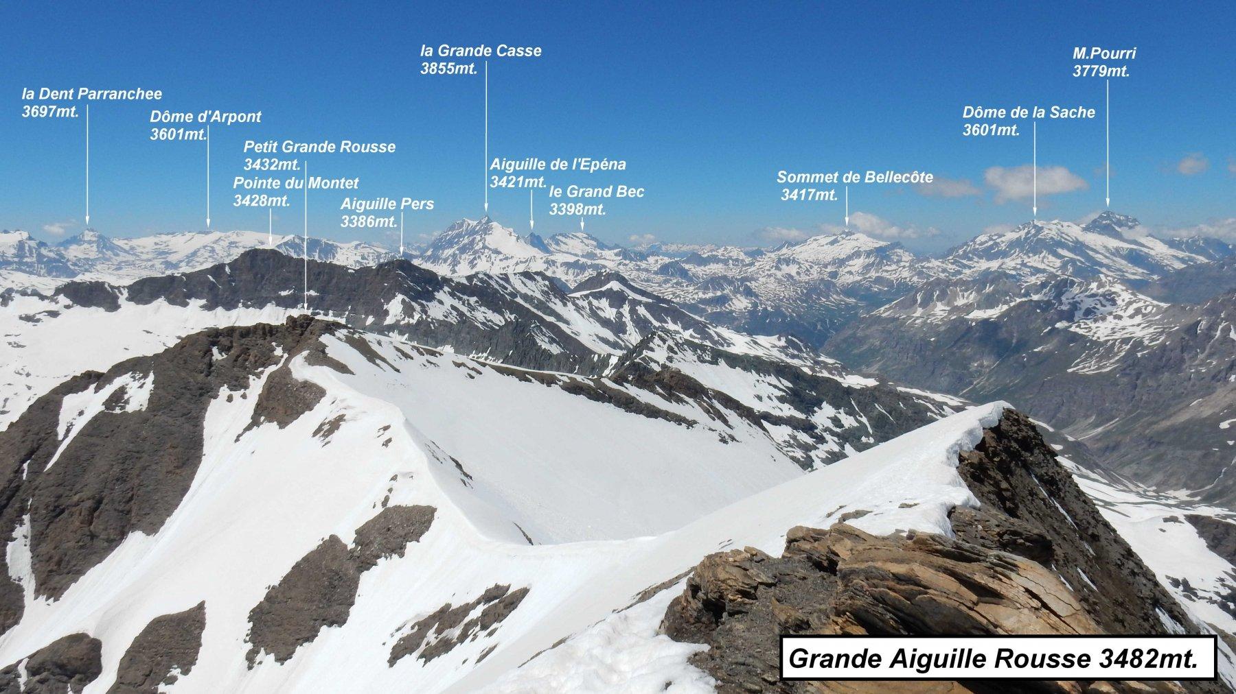 Panorama dalla vetta della Grande Aiguille Rousse.