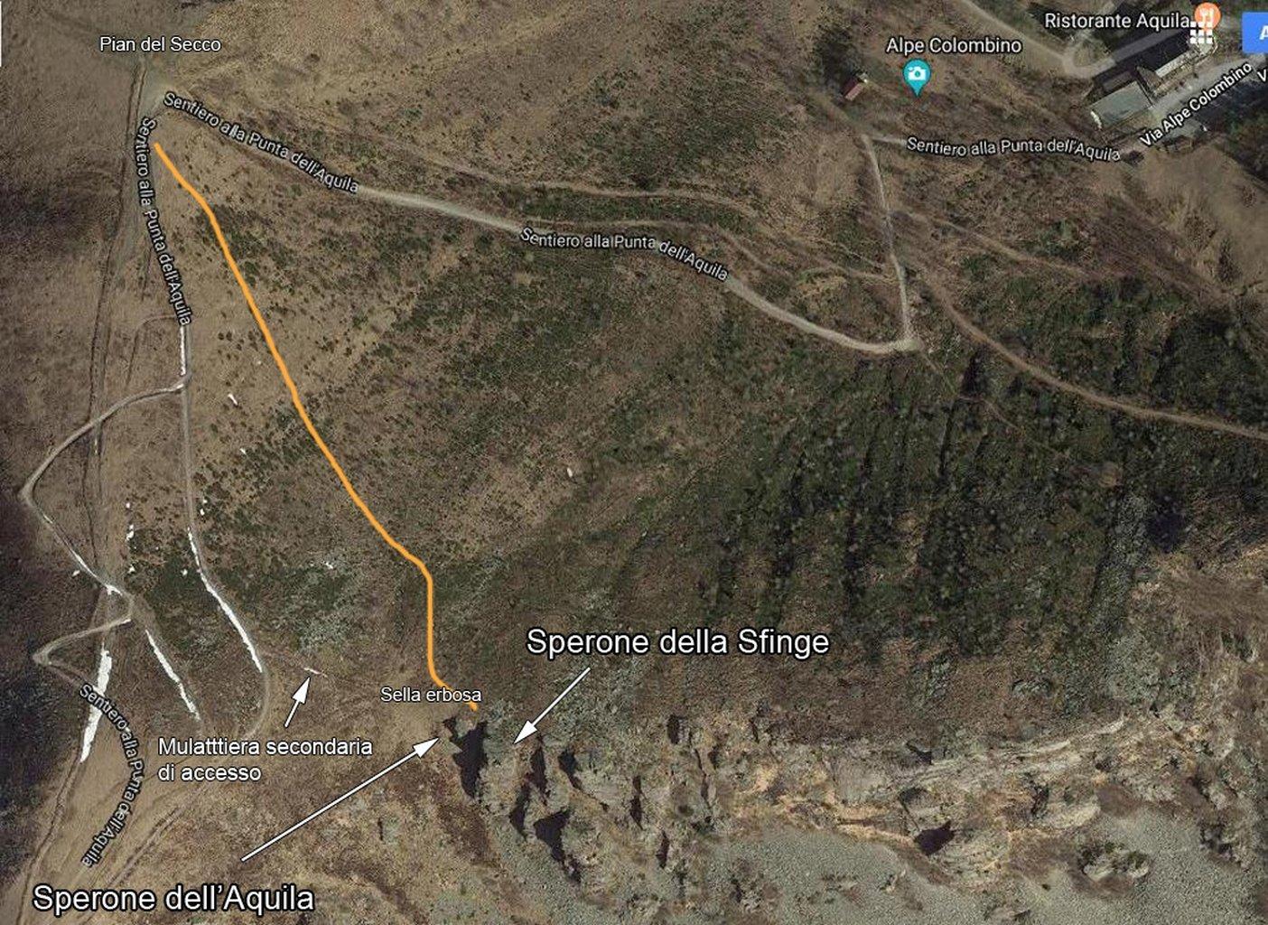 Piantina di accesso.. La traccia arancione è la traccia di sentiero che risale i pendii erbosi.