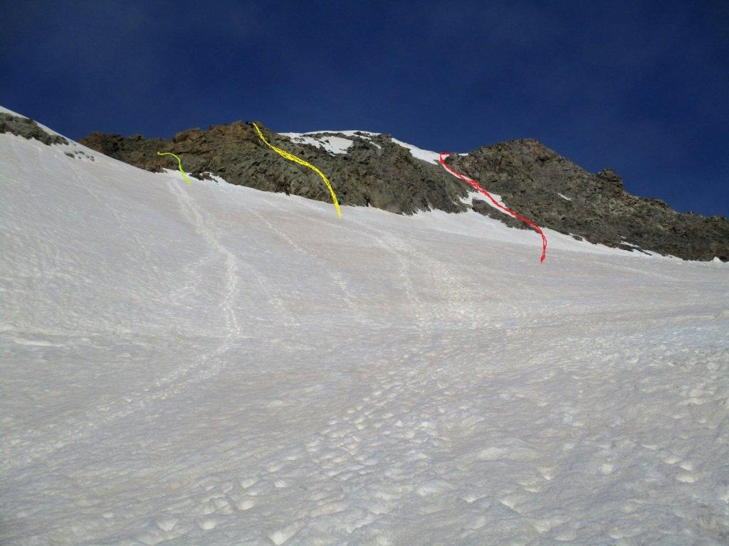 rosso il canale della paretina-giallo passaggi in arrampicata in paretina-verde canale della normale nascosto