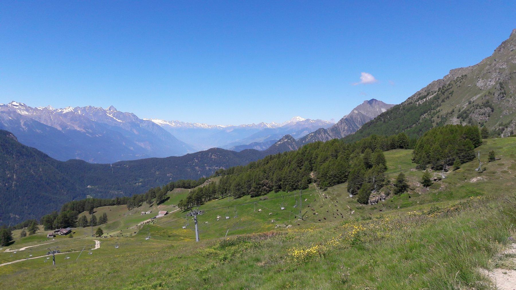 Panorama sulla valle Centrale fino al Bianco